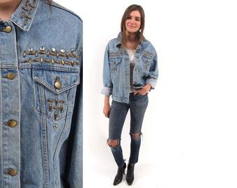 Vintage 80s Studded Denim Jacket, Embellished Jean Jacket, Oversized Boyfriend Jacket ΔΔ md / lg