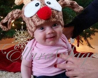 Reindeer Hat, Crochet Reindeer Hat, Christmas Hat, Toddler Reindeer Hat, Baby Reindeer Hat, Newborn Reindeer Hat, Rudolf Reindeer Hat