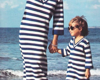 Breton Striped Dress/Top 1970s VINTAE KNIT PATTERN, Mom & Child, Boho, Retro, Hipster, Nautical, Instant Pdf from GrannyTakesATrip 0263
