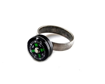 Compass Adjustable Ring - Jewelry - Gifts for Women - Handmade - Gift Box Included