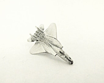 Tie Tack Pin Or Lapel Pin,      Silver F15 Eagle Fighter Jet  Mens Accessories  Handamde