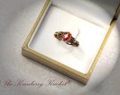 Red Wedding Ring, Victorian Red Ring, Red Crystal Ring, Brass Crystal Ring, Swarovski Ring Custom Sized