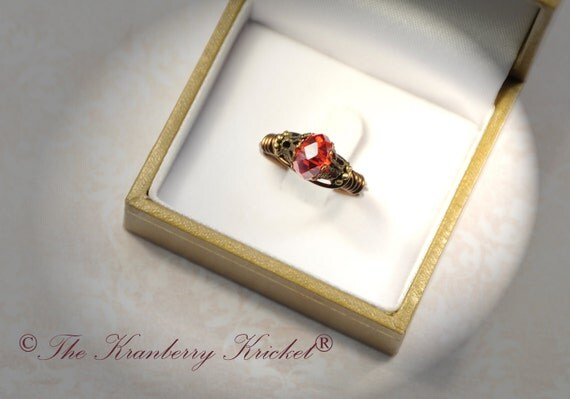 Red Wedding Ring, Victorian Red Ring, Red Crystal Ring, Brass Crystal Ring, Swarovski Ring Custom Sized