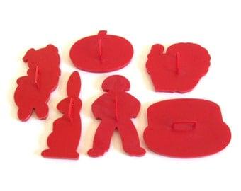 Red Tupperware Cookie Cutters Vintage Plastic Gingerbread Man Birthday Cake Turkey Bunny Pig Pumpkin