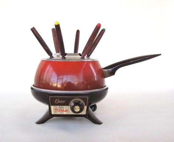 Oster Fondue Pot Set Electric Poppy Red Orange Vintage 1970s Fondue Sets