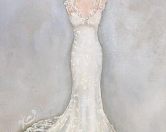 Custom Wedding Dress Painting