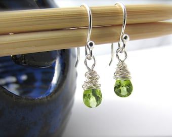 Peridot Earrings simple, tiny, silver wire wrapped, faceted gemstone dangle earrings