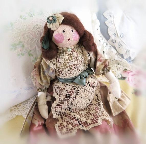 "Art Doll Cloth Doll Soft Sculpture Doll  MARETTA 17"" OOAK Handmade Handcrafted CharlotteStyle SIGNED"