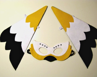 Bird felt mask & wings set - black white yellow - for kids 2-10 years handmade childrens costume - Dress up play Theatre roleplay Photo prop