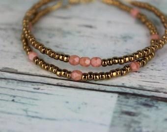 Bronze/Peach Beaded Bracelets