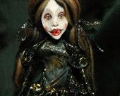 art doll, spider, black,gold
