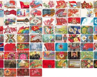 Soviet Holidays. Set of 76 Vintage Postcards, Greeting Cards - 1970s-1980s