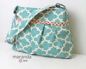 SALE Stella Quadrefoil Diaper Bag  -Medium-Fulton Blue with Cherry Dots - READY to SHIP Nappy Bag Lattice Trellis Attach to Stroller
