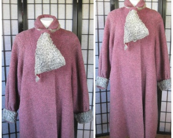 Vintage 1940s 1950s Coat Boucle Wool Pink with Silver Gray Persian Lamb Scarf Collar Extra Large 43 44 Bust A Jerral Original Volup XL XXL