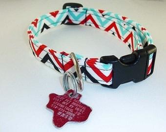 Red Black Turquoise- Dog Collar - Adjustable
