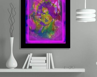 Modern contemporary art portrait, abstract painting, limited edition giclee print, Arfsten mixed media collage monotype, home decor - Vamp