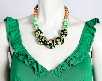 Floral Print Necklace / Beaded Statement Necklace / Colorful Spring Necklace