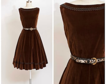 1950s Vintage Dress • Vixen in Velvet • Chocolate Brown Vintage 50s Party Dress Size Small