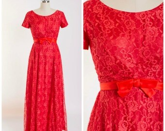 Vintage 1960s Party Dress Tomato Red Lace Full Length Early 60s Vintage Gown by Emma Domb Size Small