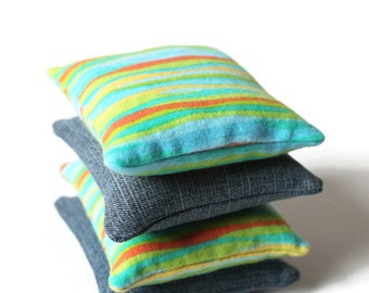 Denim & Bright Striped Flannel Bean Bags Orange Yellow Green Blue Boys Party Toss Game Children's Sensory Toy  - US Shipping Included