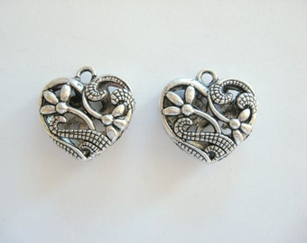 2 Heart Charms  for your Creations~Pewter Heart Charms~Pewter Hearts~