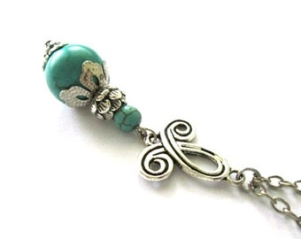 Turquoise necklace jewelry antiqued silver celtic symbol necklace, turquoise drop bead necklace simple jewelry long chain