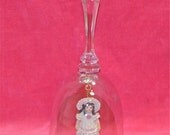 Clear Crystal Glass Bell with Porcelain Girl Ringer