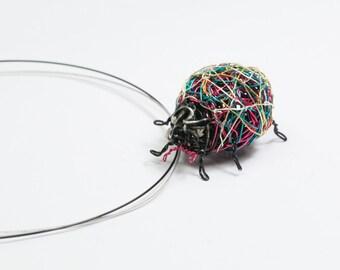 Ladybug necklace Ladybug jewelry Ladybird jewelry Insect jewelry Sculptural jewelry Insect art Unusual jewelry Insect necklace Art necklace.