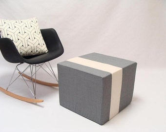 Grey Pouf/Floor Pouf/Ottoman/Stripe Pouf/Ivory Stripe/Urban/Minimalistic/Modern/Floor Pouf/Foot Stool/Nursery Pouf/ Zigzag Studio Design