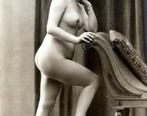 Early 1900s Risqué Nude Female Leaning on Settee ~ NEW 8x10 Art Print Reproduction