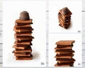 Chocolate love, Chocolate photograph, Milk chocolate, Dark chocolate, Brown and white, Kitchen decor, Coffee shop art