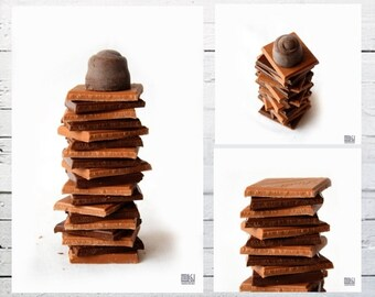 Chocolate photograph, Set of 3 prints, Food photography, Brown and white, Kitchen art, Café décor, Dining room décor, Chocolate lover gift
