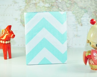 Mint Green Passport Cover // Chevron Passport Sleeve - Mint and Grey Passport Protector - Gifts Under 10 - Gift for Her - Made to Order