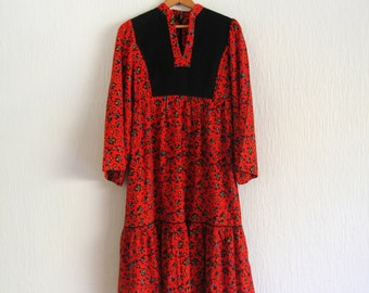 "Vintage 70's Boho Festival ""Hear Say"" Holiday Dress"