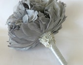 Wedding Bouquet, Bridal Bouquet, Feather Bouquet, Brooch Bouquet, Peony Bouquet, Grey, Silver, Rhinestone, Pearl, Elegant Bouquet