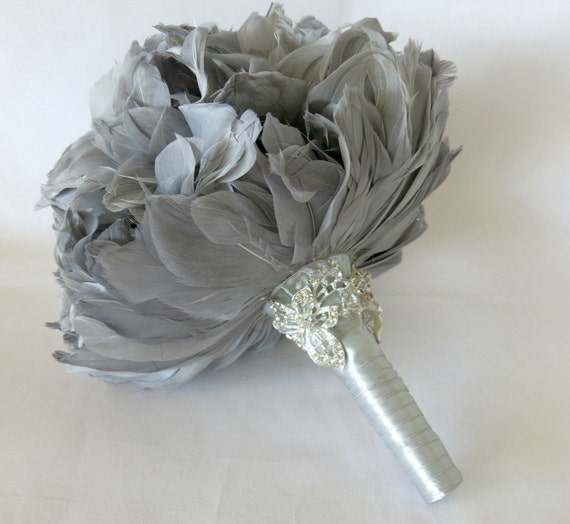 Diy Feather Bouquets Weddings: Wedding Bouquet Bridal Bouquet Feather Bouquet Brooch