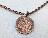 GERMANY NECKLACE - Antique 1911 German coin pendant - Imperial Eagle Shield - 2 pfennig - eagle pendant - German jewelry - man pendant