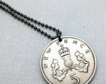 Scottish necklace - Coin Jewelry - Vintage SCOTTISH 5 new pence coin necklace - Scottish Thistle - Scotland necklace - Thistle pendant