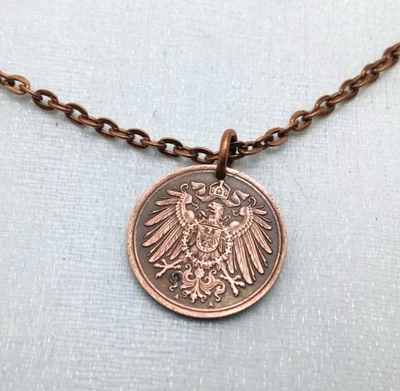 GERMANY NECKLACE Antique 1911 German coin pendant Imperial