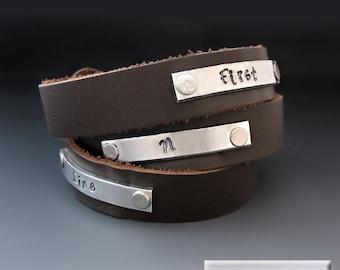 Custom Hand Stamped Jewelry - Journey Bracelet - Leather Cuff