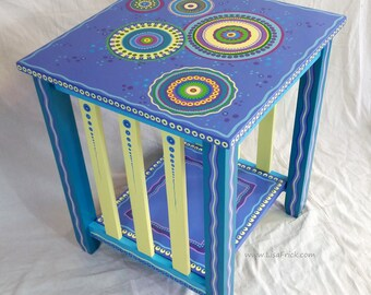 SOLD sample of CUSTOM WORK-Custom Painted End Table