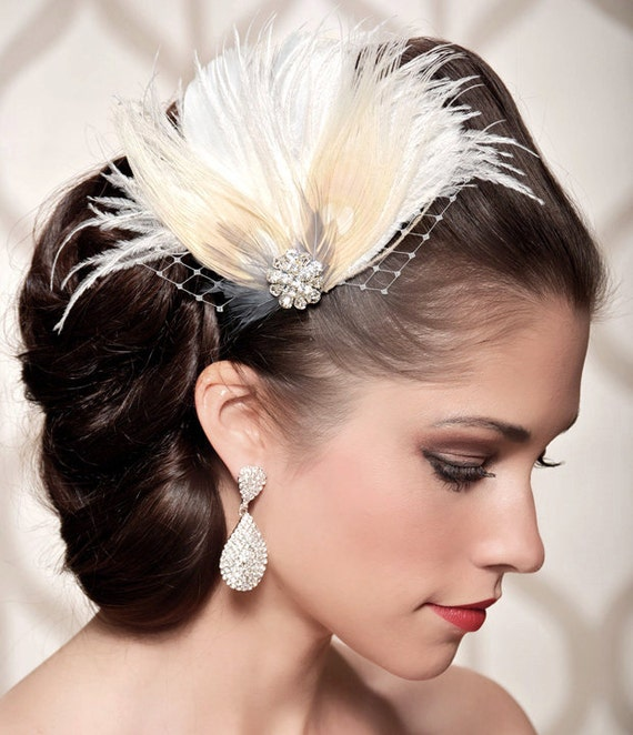 Ivory Bridal Head Piece Champagne Peacock Feather Fascinator Vintage Inspired Rhinestone Wedding Hair Piece - Made to Order - VIVIAN