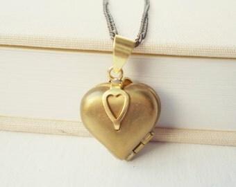 Vintage Multi 4 Heart Locket. Raw Brass Antique Pendant. Simple Minimal Jewelry