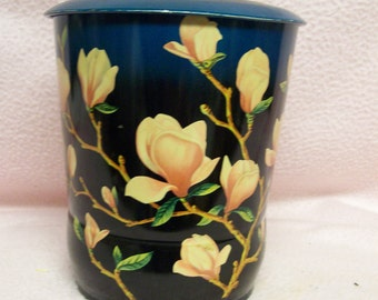 Decorative English Tin Teal & Peach Blossoms Vintage