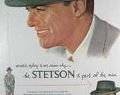 RESERVED FOR ROBIN Vintage Spring 1950 Men's Stetson Traveler Hat with the Telescope Crown Magazine Print Ad