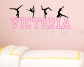 Gymnastics Wall Decal Girls Name Decal Personalized Gymnast Decal Gymnastics Bedroom Decor Tumbling Decal Bedroom Wall Art Girls Decor