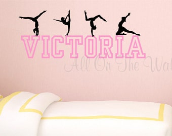 Gymnastics Wall Decal Girls Name Decal Personalized Gymnast Decal Gymnastics  Bedroom Decor Tumbling Decal Bedroom Wall