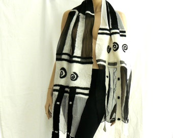 Nuno Felted Scarf - black and white - silk and wool shawl