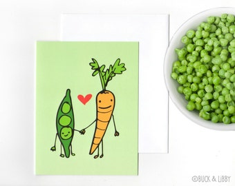 Peas Love Carrots Valentine's Day love Card with Envelope blank inside