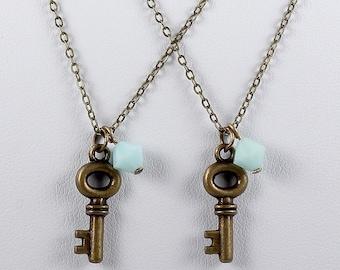Skeleton Key Pendant Bridesmaid Necklaces Antique Brass Key Charm Vintage Inspired Wedding